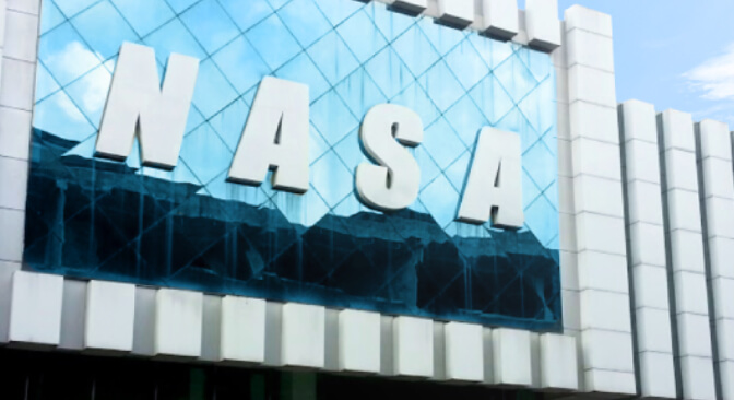 nasa logo display big in building